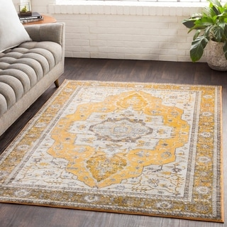"Ikaika Yellow Oriental Traditional Area Rug - 2'7"" x 7'6"" Runner"