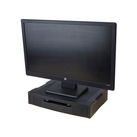 Mind Reader Monitor Stand with Storage Drawer, Black