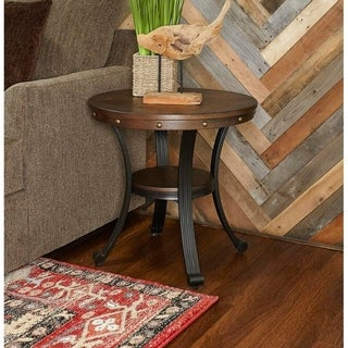Powell Franklin Brown and Black Wood Round Side Table