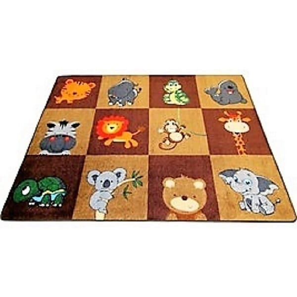 My Zoo Baby Earth Tones Educational Nylon Area Rug (6'6 X