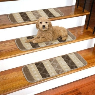 Ottomanson Softy Stair Treads Skid Resistant Rubber Backing Non Slip Carpet Stair Treads -7 Pieces Set - (9 Inch By 26 Inch ) (2 options available)