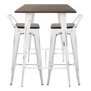 Oregon 3-Piece Industrial Low Back Pub Set  sc 1 st  Overstock.com : stools and table sets - pezcame.com