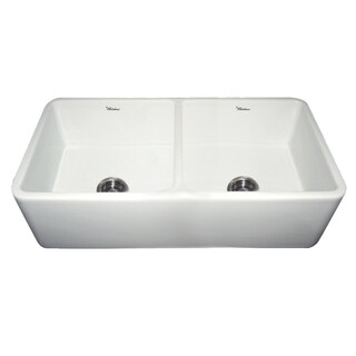 Farmhaus Duet Series Glossy Fireclay Reversible Double-bowl Sink With Smooth Front Apron