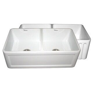 Farmhaus Fireclay Reversible Double-bowl Sink With Concave and Fluted Front Aprons