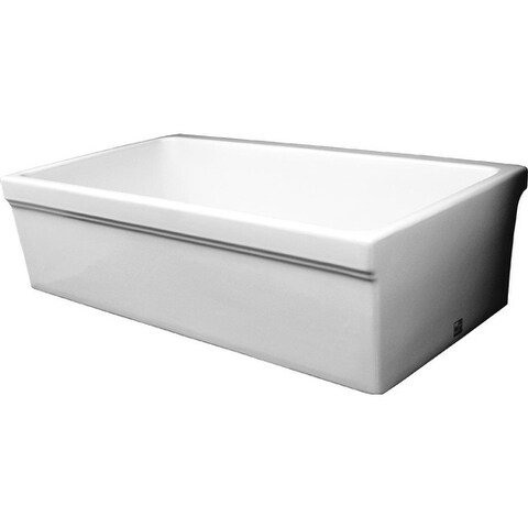 Whitehaus Collection Farmhaus Fireclay Quatro Alcove Glossy Reversible Sink with Decorative Lips