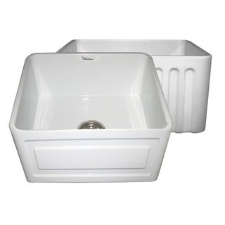Farmhaus Fireclay Reversible Sink with a Raised Panel Front Apron on One Side and Fluted Front Apron on the Opposite Side