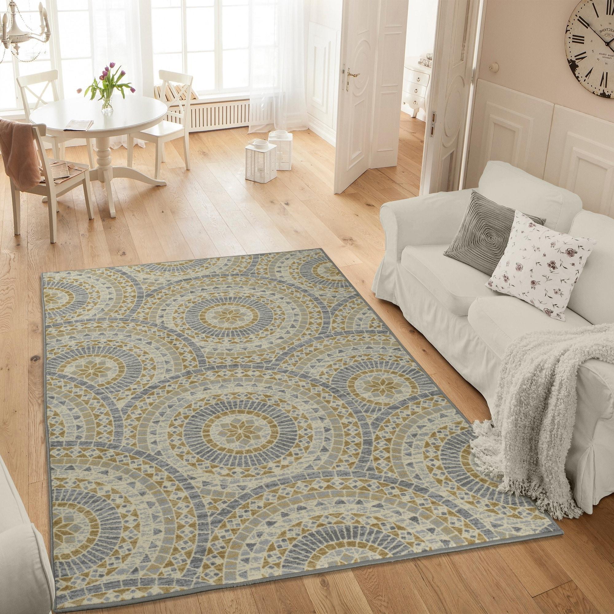 Ottomanson Studio Collection Grey Mosaic Medallion Design...