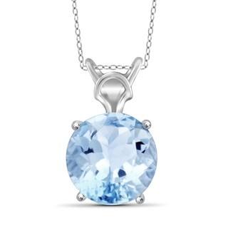 JewelonFire 5.70 Carat Genuine Sky Blue Topaz Gemstone Solitaire Pendant in Sterling Silver