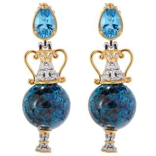 Michael Valitutti Palladium Silver Paris Chrysocolla Bead & Swiss Blue Topaz Drop Earrings