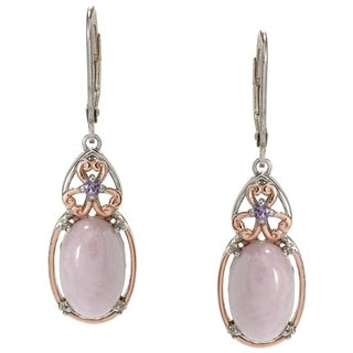 Michael Valitutti Palladium Silver Kunzite & Amethyst Drop Earrings