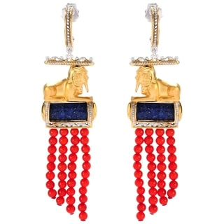 Michael Valitutti Palladium Silver Lapis & Beaded Red Bamboo Coral Sphinx Earrings