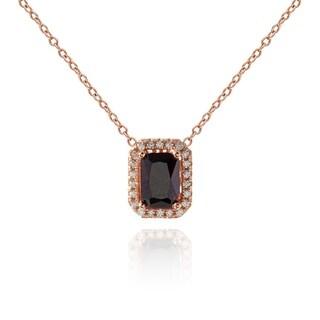 Suzy Levian Sterling Silver Brown Emerald-Cut Cubic Zirconia Solitaire Pendant Necklace