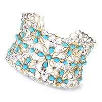 Michael Valitutti Palladium Silver Multi Shape Sleeping Beauty Turquoise Flower Wide Cuff Bracelet