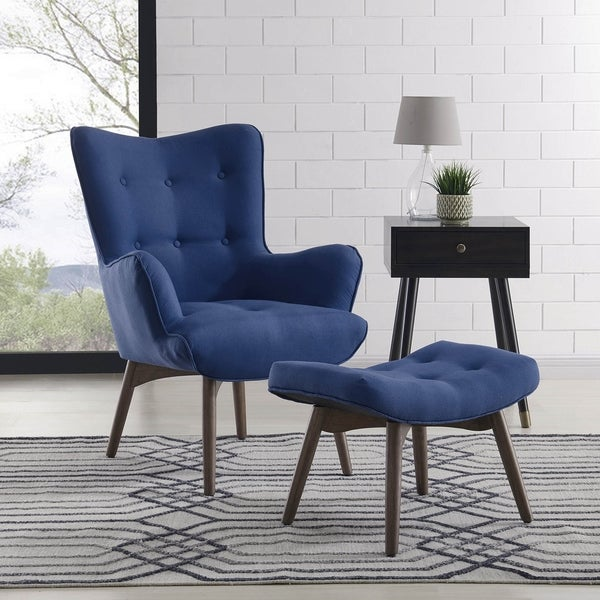 Shane Accent Chair W/Stool Dark Blue