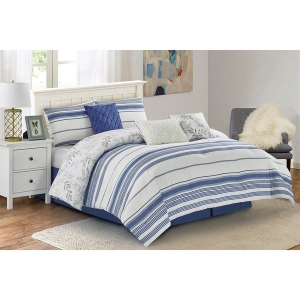 Wonder Home 7 Pieces Mikita Faux Yarn Dyed Striped//Floral Blue//White King Size Comforter Set
