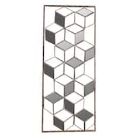 10.75x25.75 CUBIC ILLUSION II, Golden Metal Art with Mirrors - Gold - 10.75x25.75x2.0