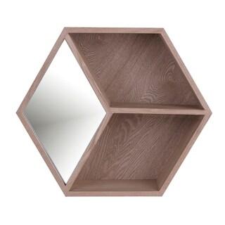 18x15 HEXA II, Wooden Shelf Mirror - Brown - 18x15x4.0