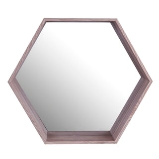 20x17 HEXA, Wooden Shelf Mirror - Brown - 20x17x4.0