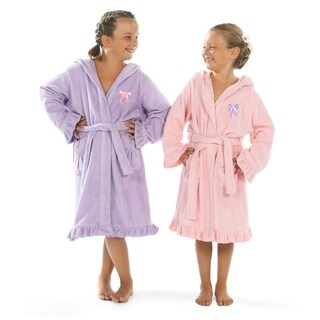 Sweet Kids Ruffled Turkish Cotton Hooded Terry Bathrobe with Embroidered Pink and Purple Bows
