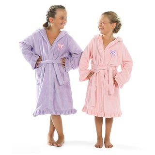 Link to Sweet Kids Ruffled Turkish Cotton Hooded Terry Bathrobe with Embroidered Pink and Purple Bows Similar Items in Kids Bathrobes