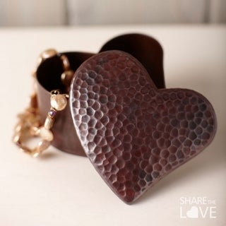 Copper Handcrafted Antique Copper Jewelry Heart Box with Fitted Lid