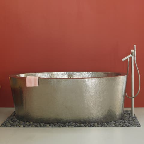 Aspen Brushed Nickel 64-inch Freestanding Soaking Bathtub