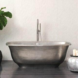 Santorini Brushed Nickel Freestanding Soaking Bathtub