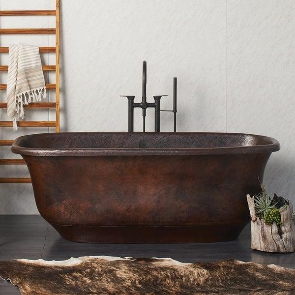shop santorini antique copper freestanding soaking bathtub - ships