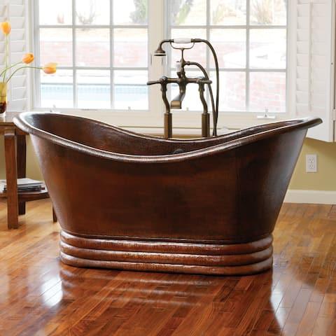 Aurora Hand Hammered Antique Copper 72-inch Freestanding Bathtub