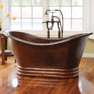 Aurora Hand Hammered Antique Copper 60-inch Freestanding Bathtub