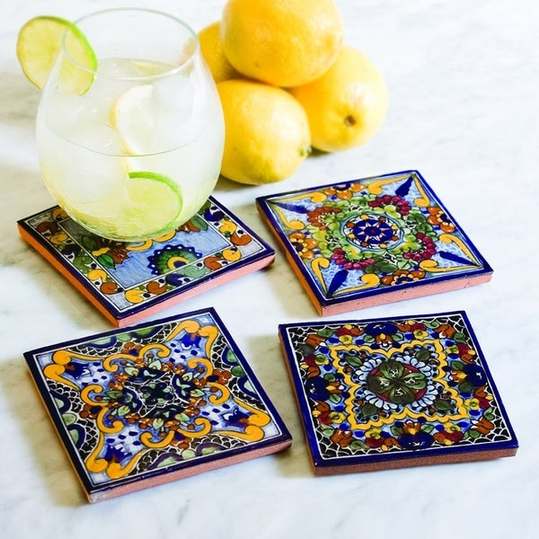 Moroccan Midnight Hand Painted Talavera Tile Coasters Set Of 4