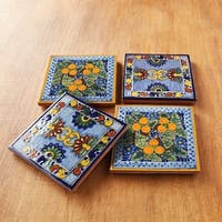 Moroccan Midnight Hand-painted Talavera Tile Coasters (Set of 4)