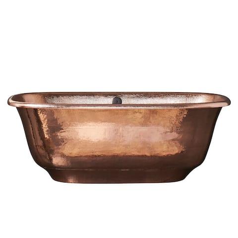 Santorini Polished Copper Freestanding Soaking Bathtub