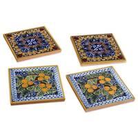 Spanish Garden Hand-painted Talavera Tile Coasters (Set of 4)