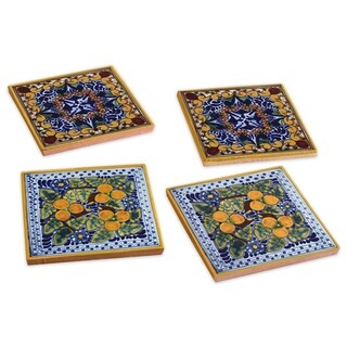 Spanish Garden Hand-painted Talavera Tile Coasters (Set of 4)