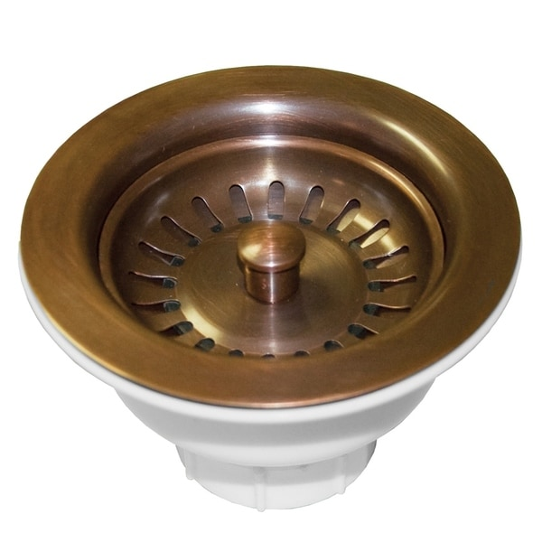 Copper Sink Strainer Drain With Post Basket 3.5 Inch Antique Finish Kitchen Apro