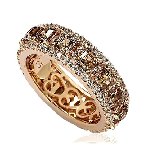 Suzy Levian Rose Sterling Silver Cubic Zirconia Champagne and White Modern Eternity Band