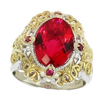 Michael Valitutti Palladium Silver Oval Rubellite & Ruby Ring|https://ak1.ostkcdn.com/images/products/18226040/P24366791.jpg?impolicy=medium