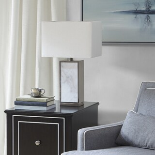 Madison Park Signature Walden White/ Silver 25-inch Table Lamp with Square Lamp