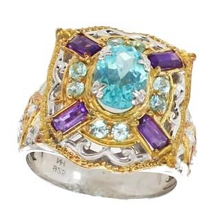 Michael Valitutti Palladium Silver Apatite & African Amethyst Ring