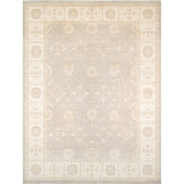 Shop Pasargad Ferehan Grey Ivory Hand Knotted Wool Area