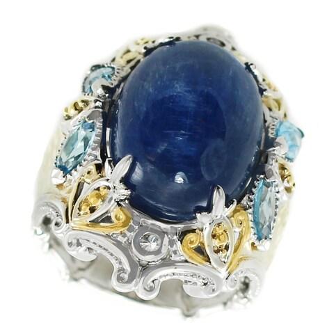 Michael Valitutti Palladium Silver Kyanite, Swiss Blue Topaz & White Sapphire Ring