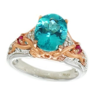 Michael Valitutti Palladium Silver Apatite, Pink Sapphire & Diamond Ring