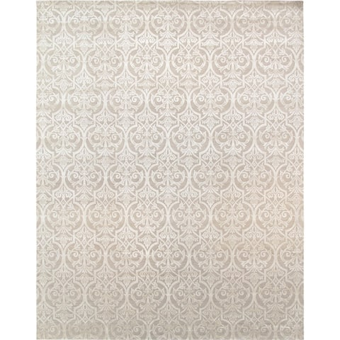 """Pasargad Modern Collection Beige Hand-Knotted Silk & Wool Rug (9' 2"""" X 11'11"""") - 9' x 12'"""
