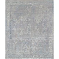"Pasargad Transitiona Grey/Blue Hand-Knotted Silk & Wool Rug (8' 1"" X 10' 0"")"