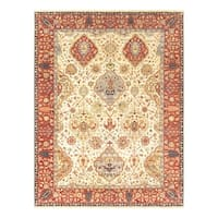 """Pasargad Kerman Ivory/Rust Hand-Knotted Wool Area Rug (9' 0"""" X 11'10"""")"""