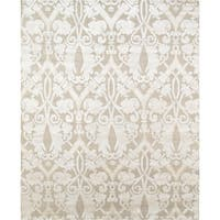 """Pasargad Modern Beige/Silver Hand-Knotted Silk & Wool Area Rug (8' 2"""" X 10' 3"""")"""