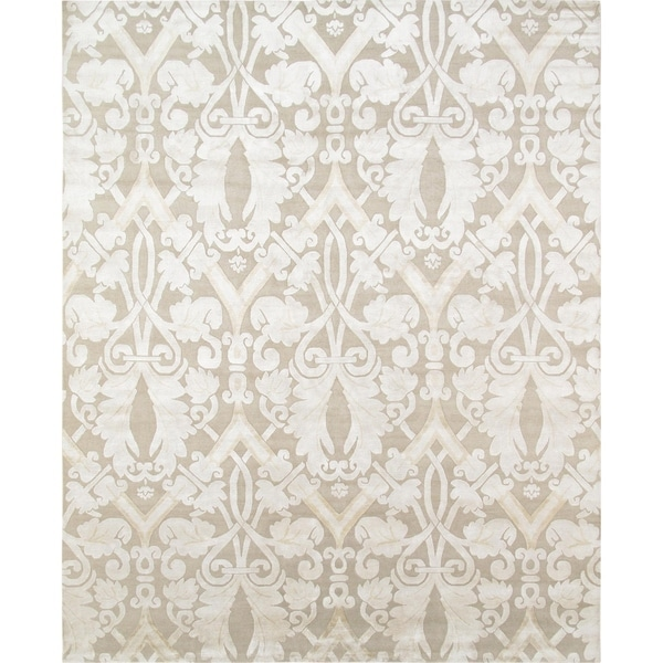 Pasargad Khotan Persian Wool Area Rug 8 X10: Shop Pasargad Modern Beige/Silver Hand-Knotted Silk & Wool