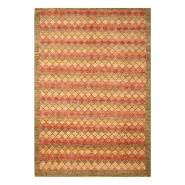 Handmade Vegetable Dye Moroccan Wool Rug (Afghanistan) - 6'5 x 9'7