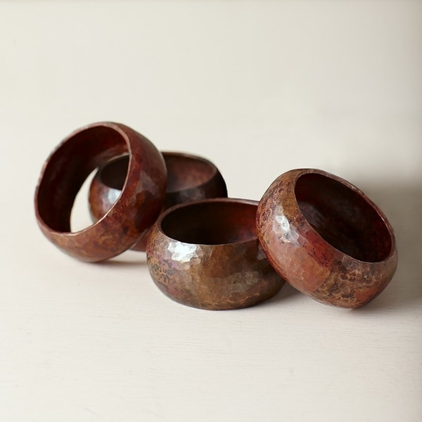 Handcrafted Antique Copper Napkin Rings (Set of 4)